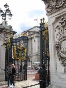 One of the front gates of Buckingham Palace
